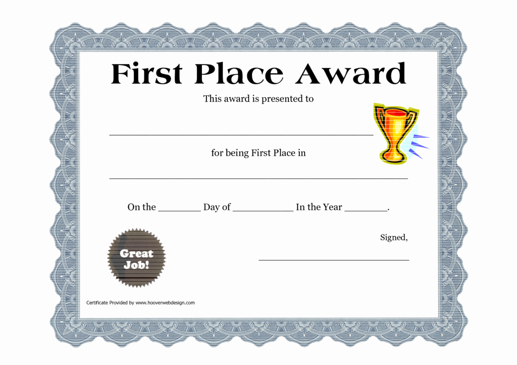 This Certificate is Awarded to Luxury Second Prize Certificate Template