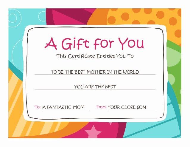 This Entitles the Bearer to Template Certificate Unique Gift Card
