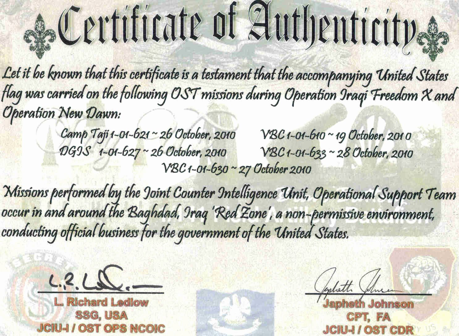 This Flag Was Flown Certificate Template Inspirational Chaplain 452 the Spiritual Side Of Things