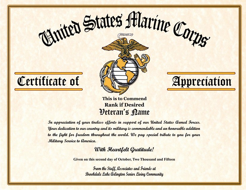 This Flag Was Flown Certificate Template Luxury Military Veterans Appreciation Certificates