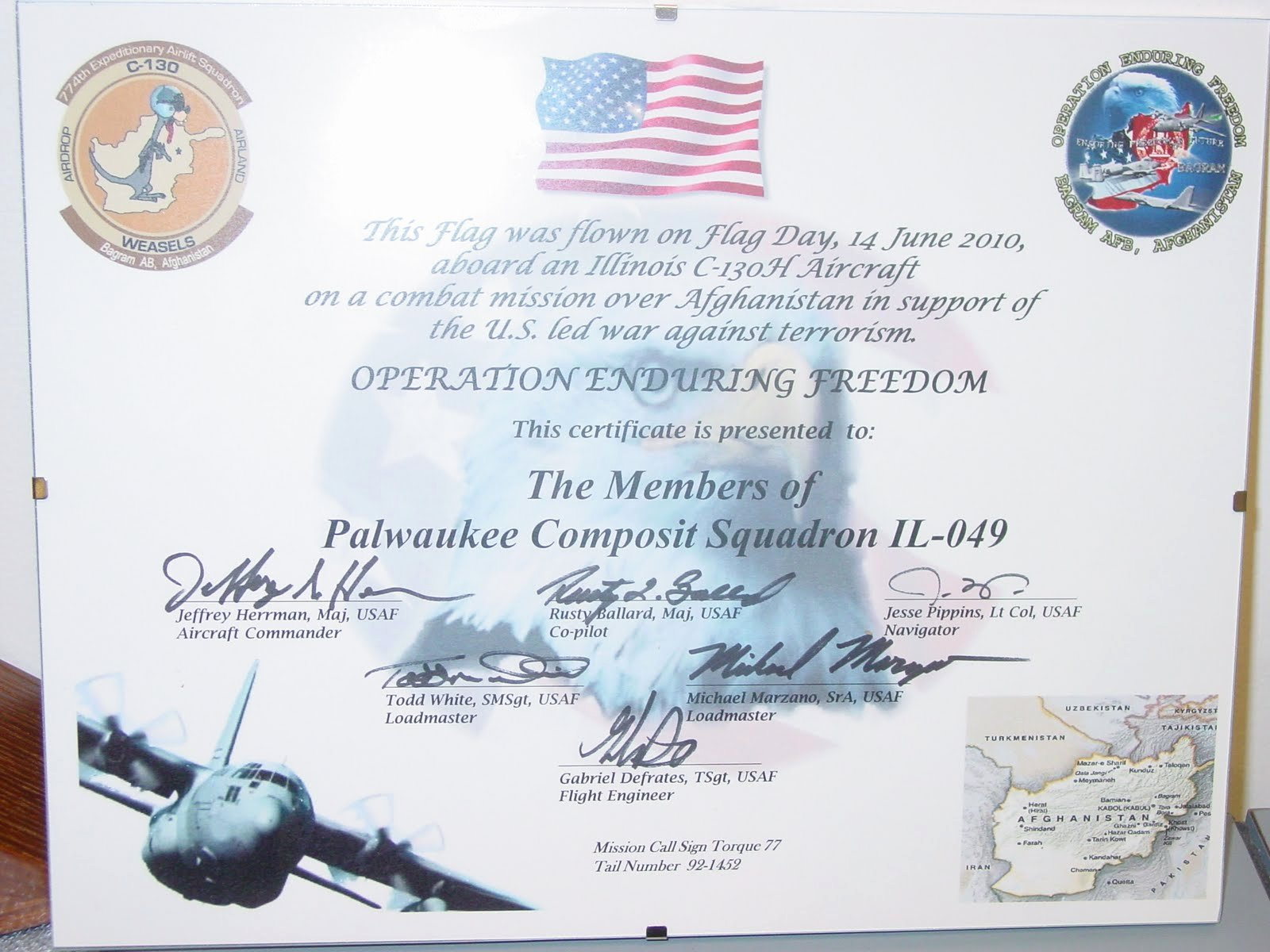This Flag Was Flown Certificate Template New Palwaukee Posite Squadron Ang Member Presents Flag and