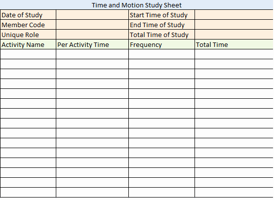 Time and Motion Study Template Best Of 28 Of Time and Motion Template Excel