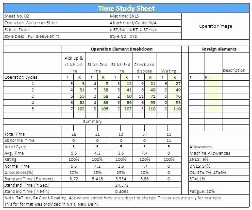 Time In Motion Study Template Luxury Cycle Time Excel Template