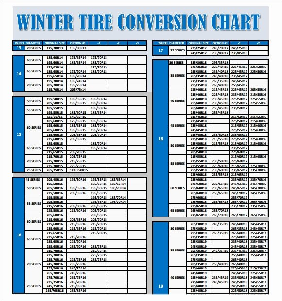 Tire Size Comparison Chart Template Beautiful Sample Tire Conversion Chart 8 Free Documents Download