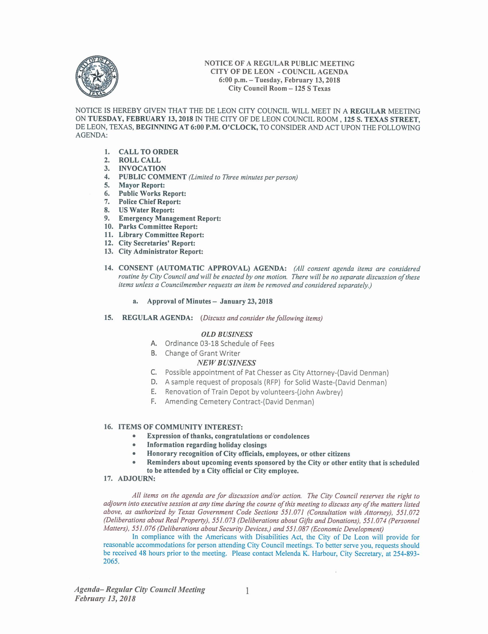 Town Hall Meeting Agenda Sample Awesome Regular City Council Meeting February 2018 De Leon