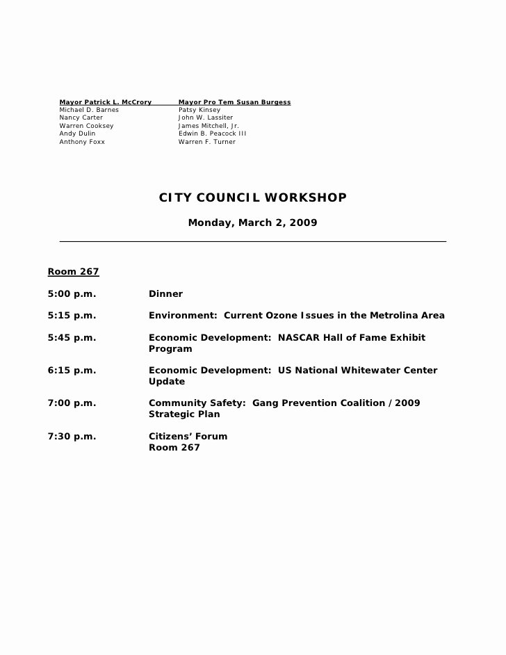 Town Hall Meeting Agenda Sample Elegant Charlotte City Council Meeting Agenda March 2 2009