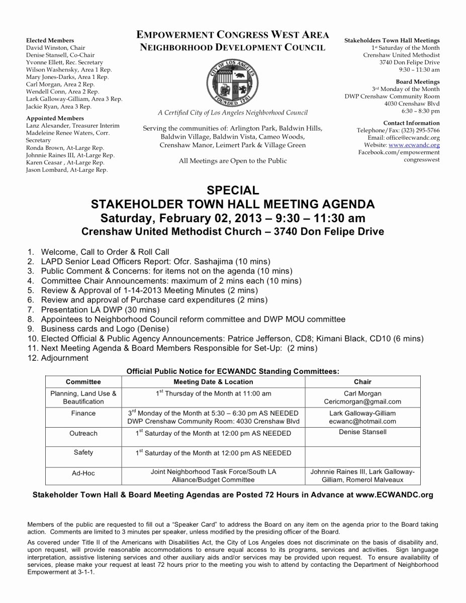 Town Hall Meeting Agenda Sample Fresh Munity town Hall Meetings 1st Saturday Of Every Month