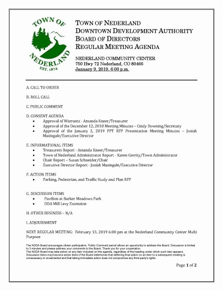 Town Hall Meeting Agenda Template Beautiful 1 09 19 Nederland Downtown Development Authority Meeting