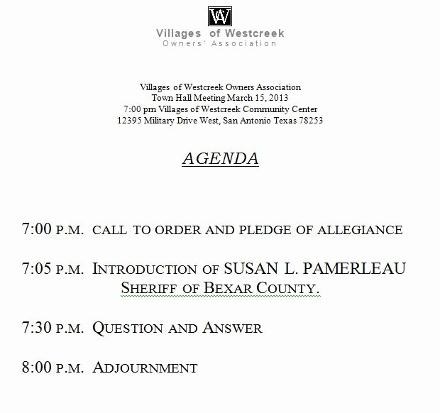 Town Hall Meeting Agenda Template Elegant Agenda for town Hall Meeting March 15 2013 at 7 00 P M