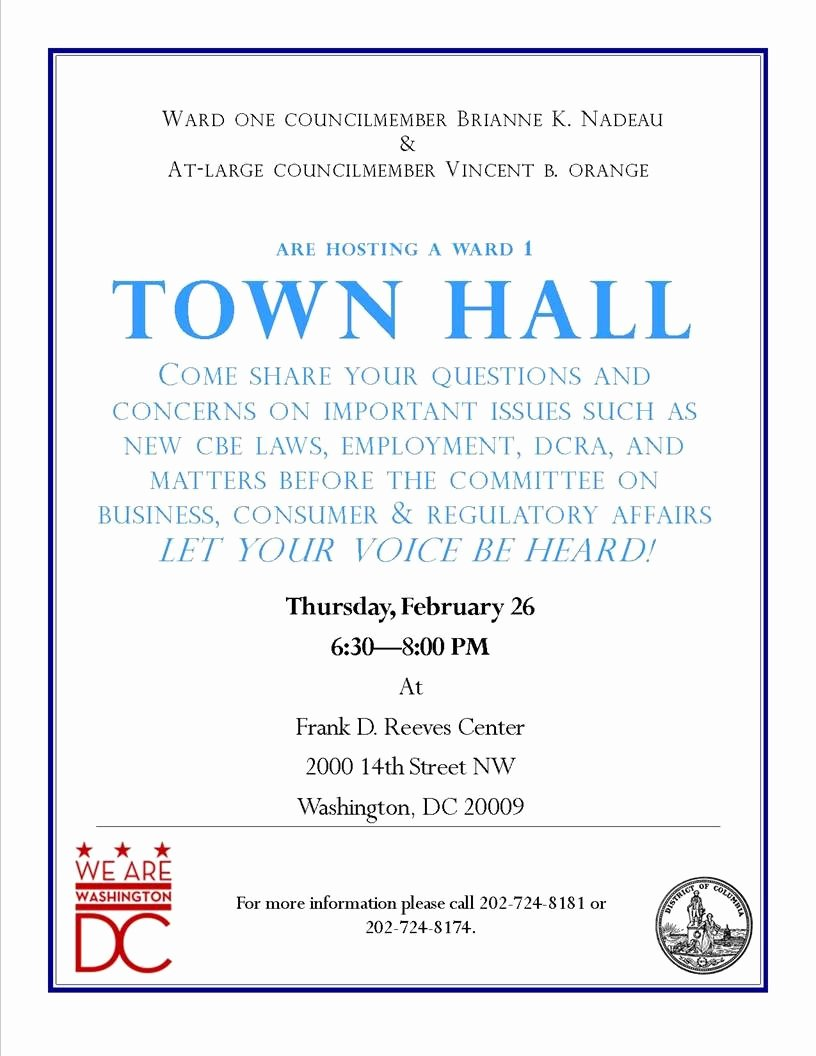 Town Hall Meeting Agenda Template Fresh town Hall Meeting On Thursday Focusing On Dcra and Abra