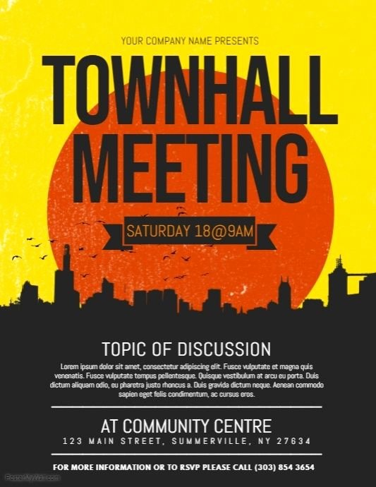 Town Hall Meeting Agenda Template New townhall Meeting Flyer Postermywall