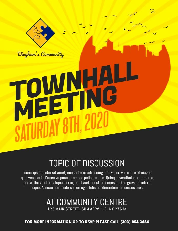 Town Hall Meeting Template Elegant Modern town Hall Meeting Announcement Poster Flyer