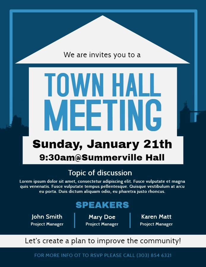 Town Hall Meeting Template Elegant town Hall Meeting and Discussion forum Poster Flyer Design