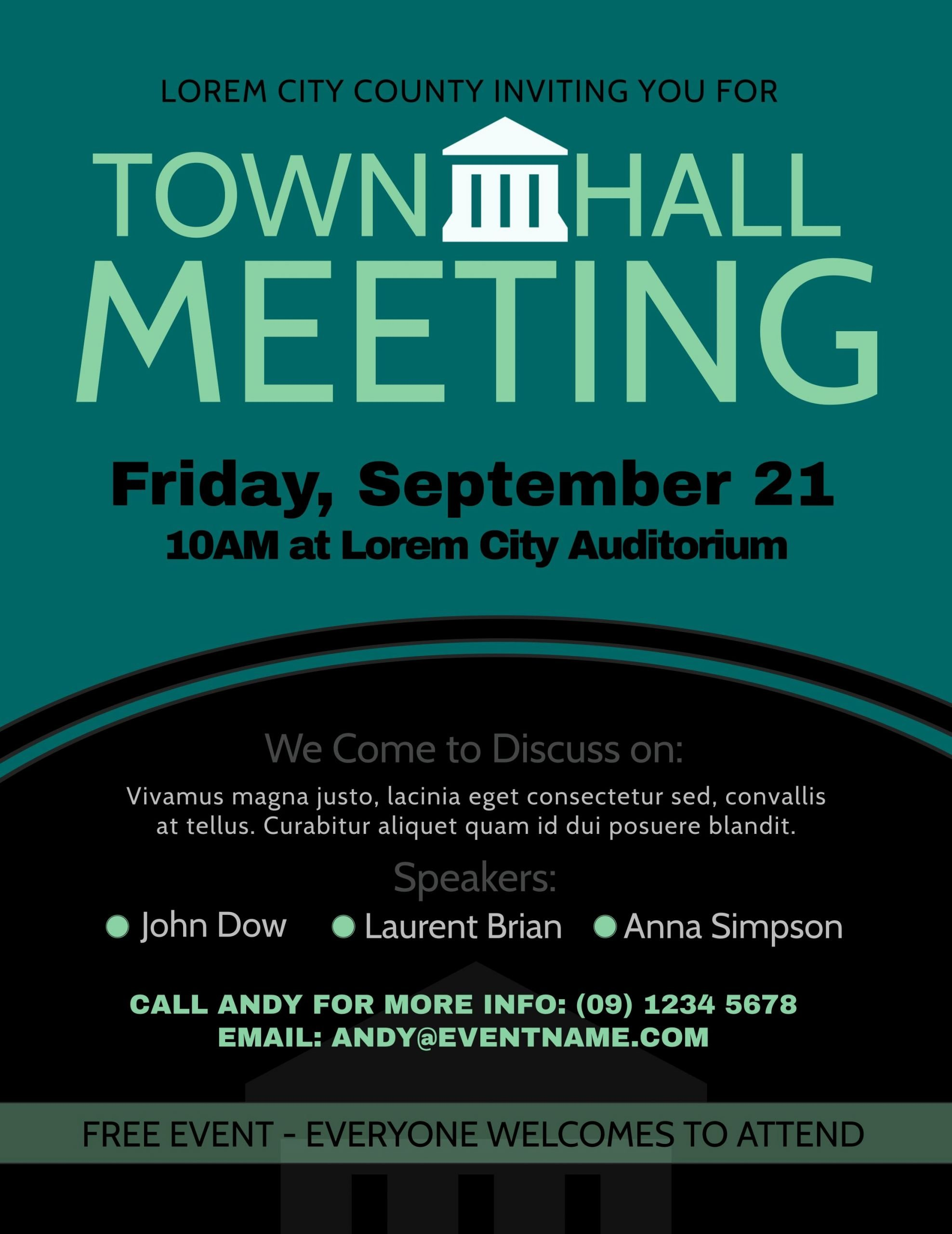 Town Hall Meeting Template Elegant townhall Meeting Poster Design Template