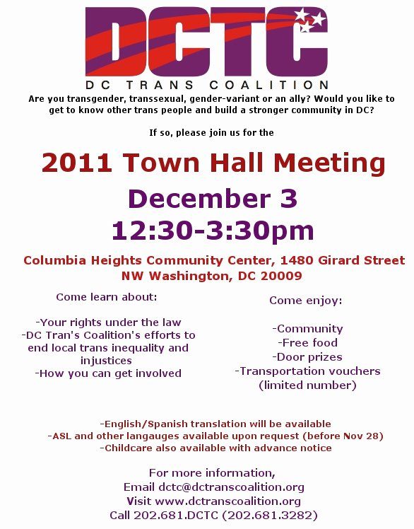 Town Hall Meeting Template Fresh Announcing Our 2011 Trans town Hall Meeting