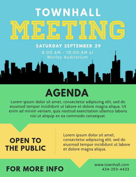 Town Hall Meeting Template Fresh town Hall Agenda Flyer Template