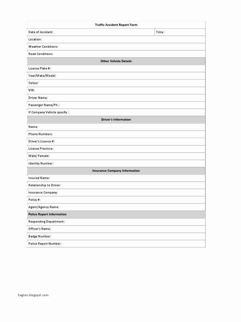 Traffic Accident form Fresh Download Traffic Accident Report form Revised Pdf
