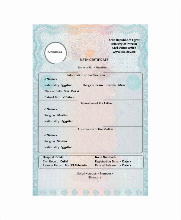 Translation Of Birth Certificate Template Beautiful Sample Birth Certificate 12 Documents In Word Pdf