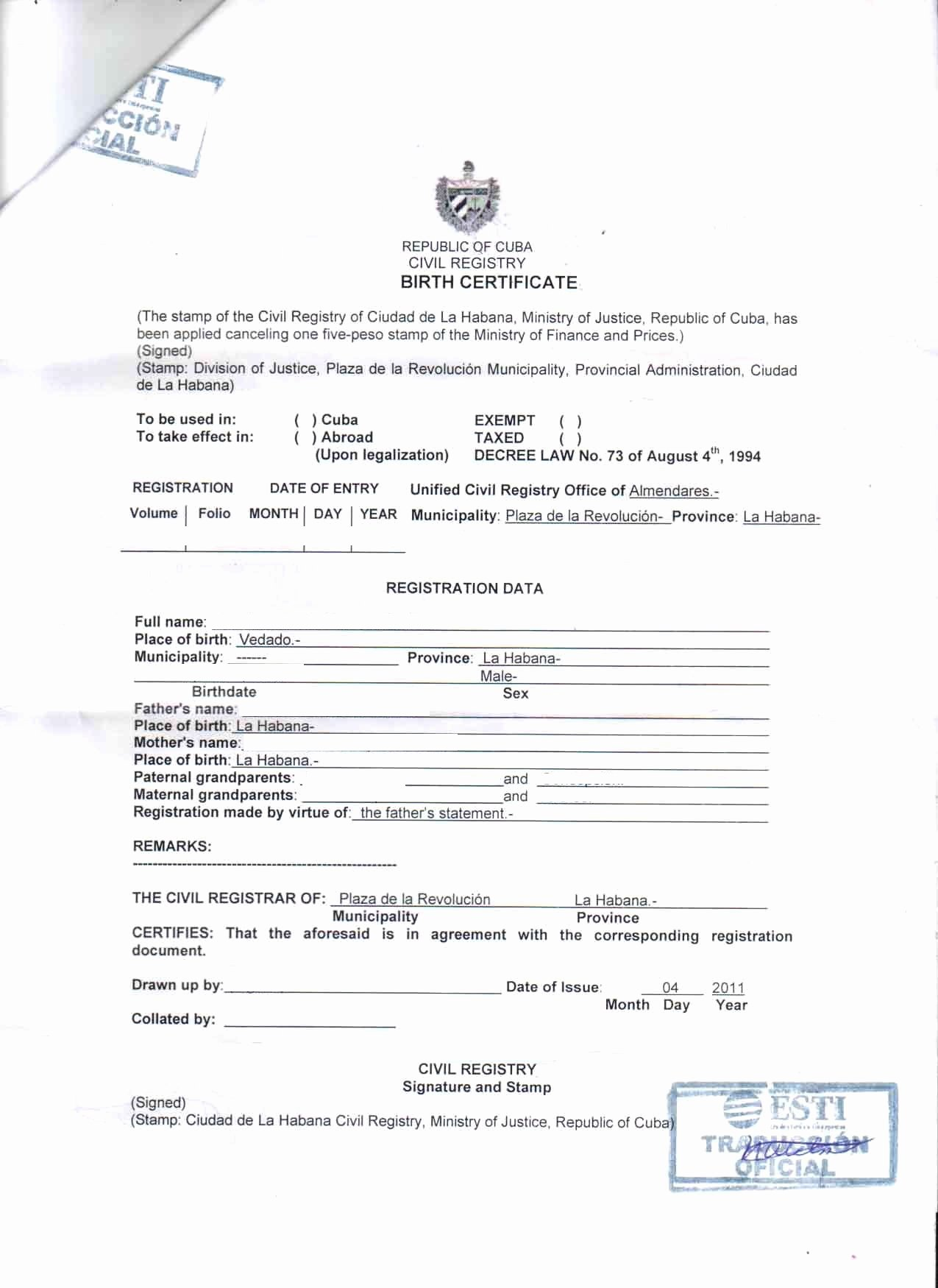 Translation Of Birth Certificate Template Best Of 25 Of Cuban Divorce Certificate Translation