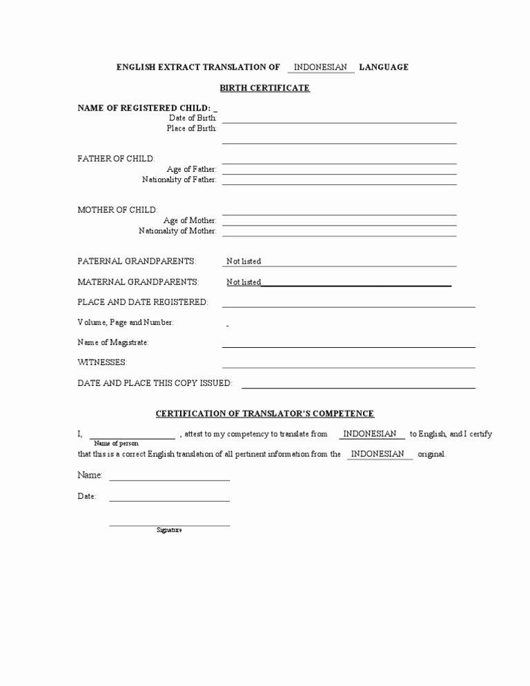 Translation Of Birth Certificate Template Elegant Birth Certificate Translation form