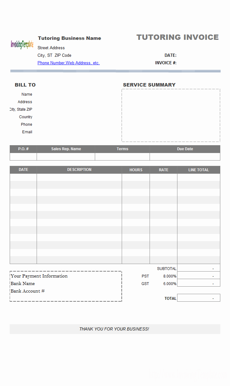 Tree Service Invoice Template Awesome Travel Service Bill format