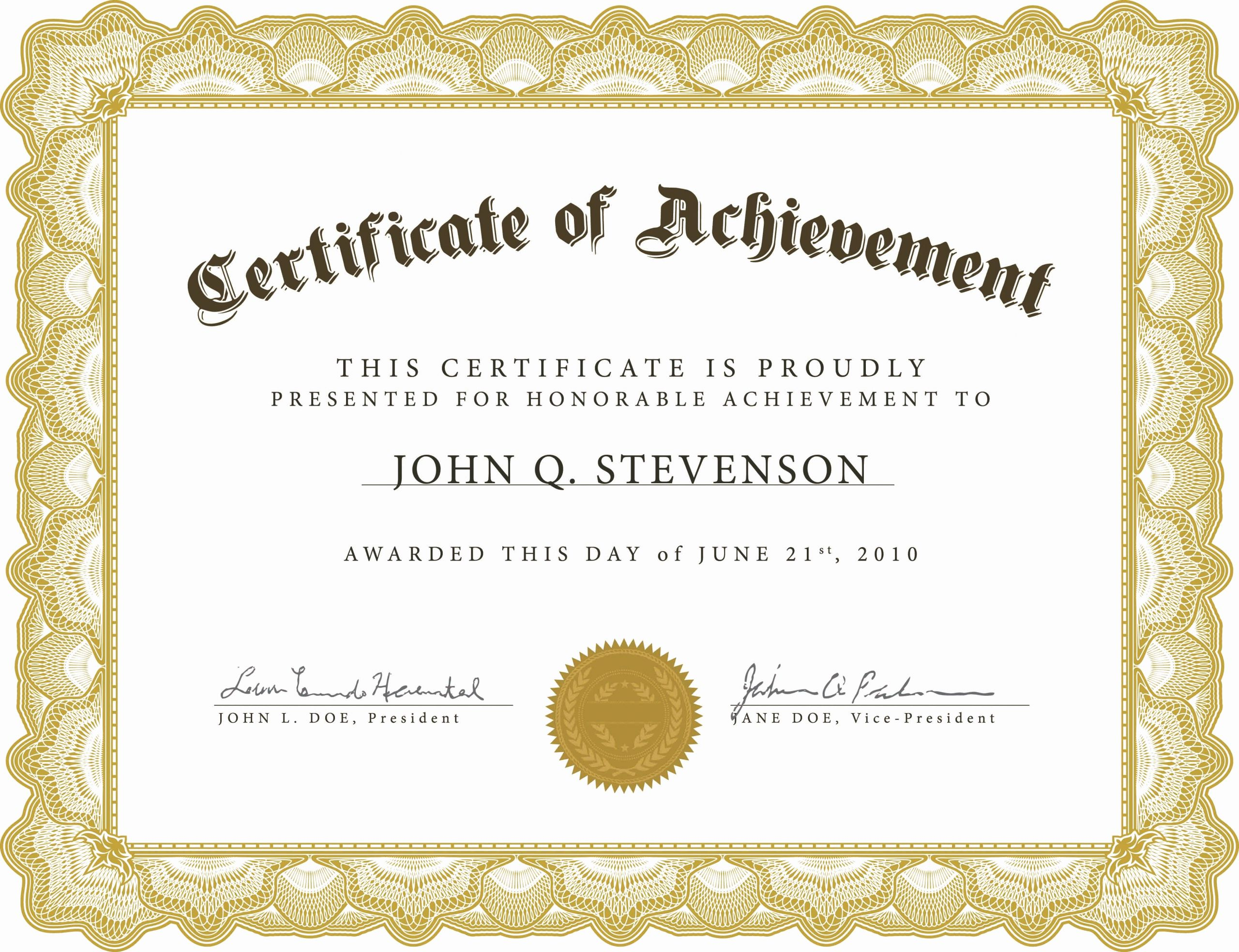 Trend Enterprises Certificate Template Awesome Word Certificate Achievement Template