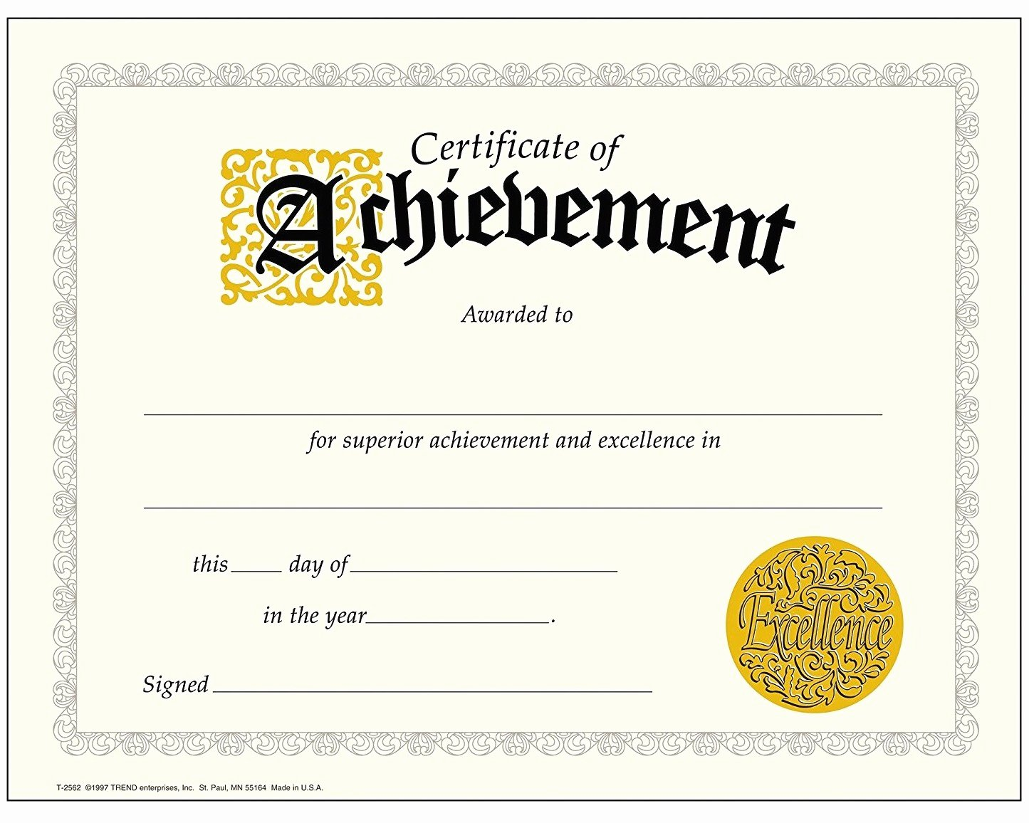 Trend Enterprises Certificate Template Best Of Achievement Certificate Best Of Trend Enterprises Classic