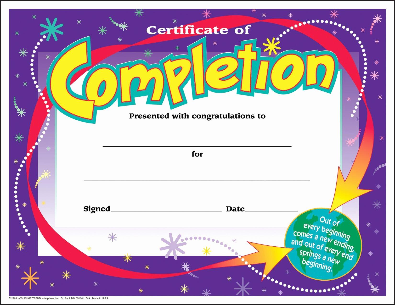 Trend Enterprises Certificate Template Inspirational 30 Certificates Of Pletion Large Certificate Award