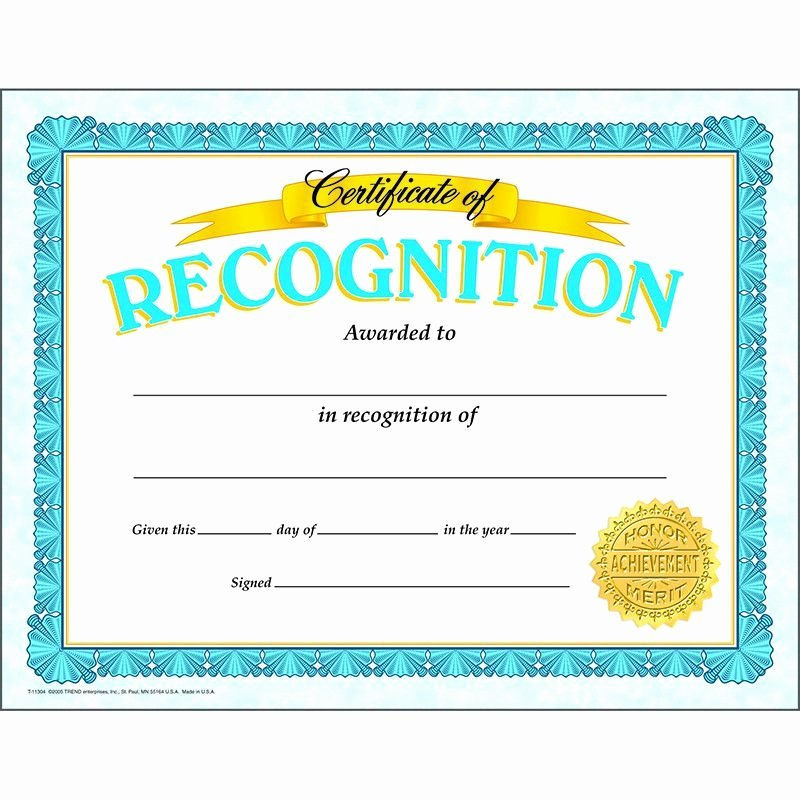 Trend Enterprises Certificate Template Inspirational Certificate Of Recognition Classic
