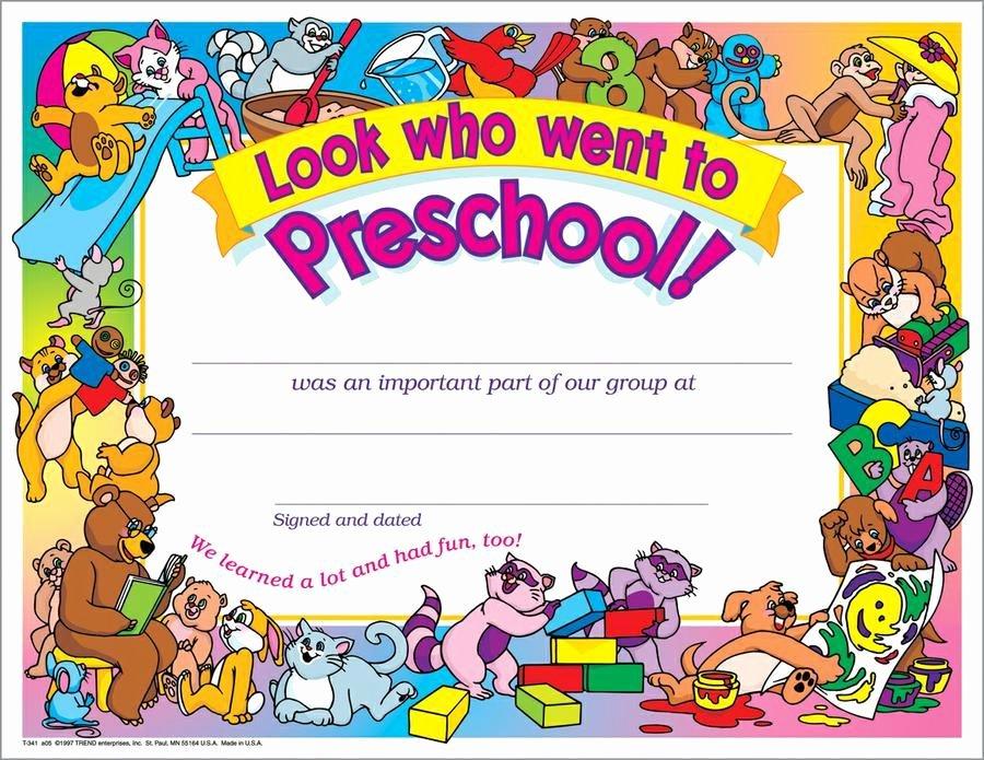 Trend Enterprises Certificate Template Unique Look who Went to Preschool 30 Pk 8 1 2 X 11 Certificates