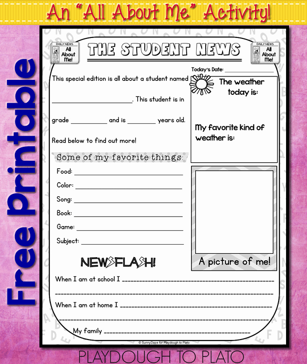 Twitter Template for Students Printable Fresh All About Me Free Printable Playdough to Plato