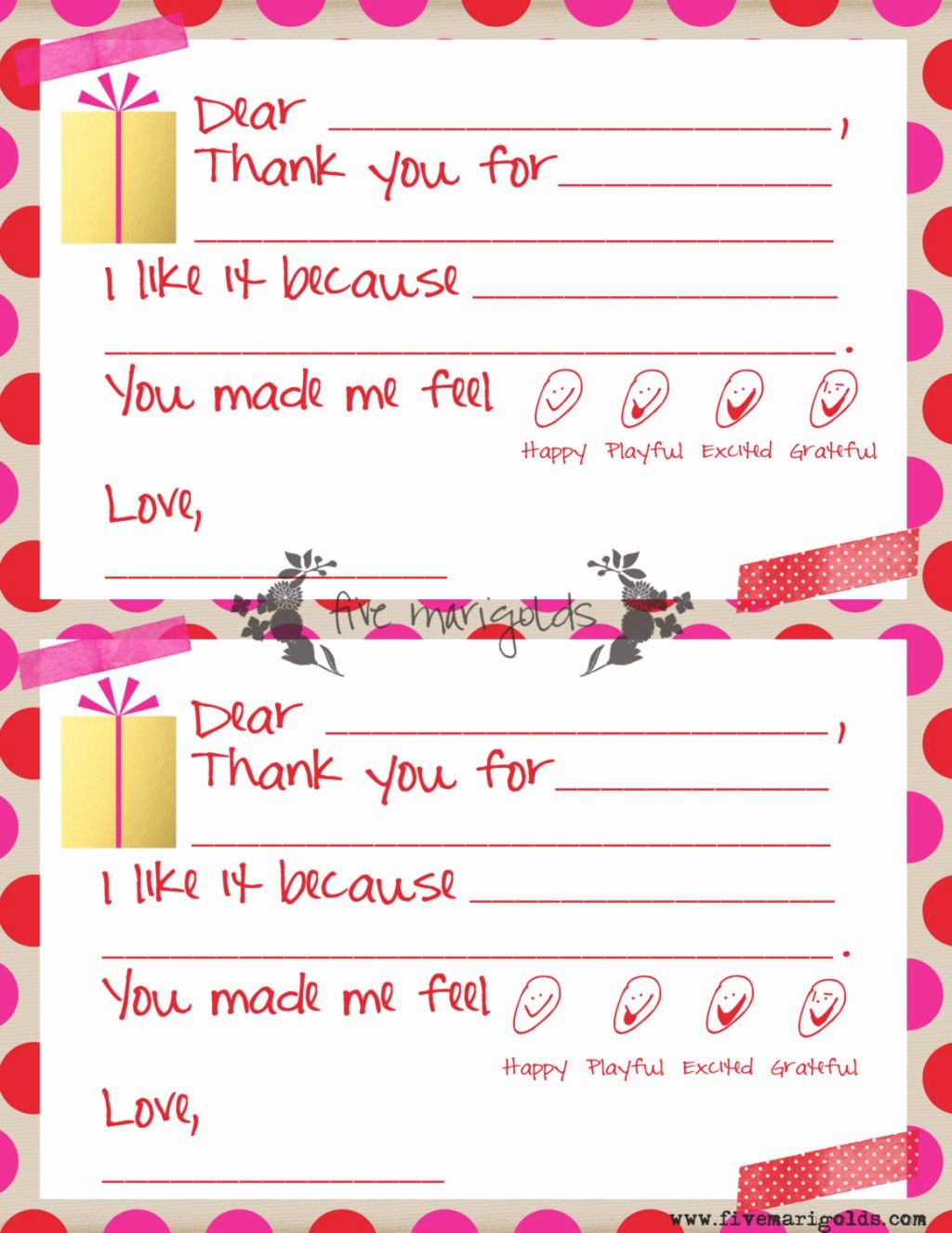 Twitter Template for Students Printable Fresh Christmas Thank You Note Templates for Kids Five Marigolds