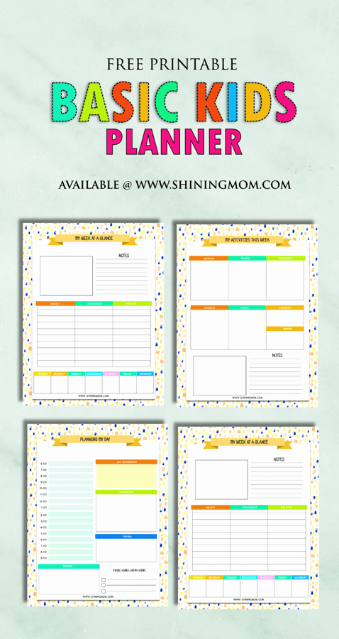 Twitter Template for Students Printable Inspirational Free Printable Kids Planner Cute and Colorful