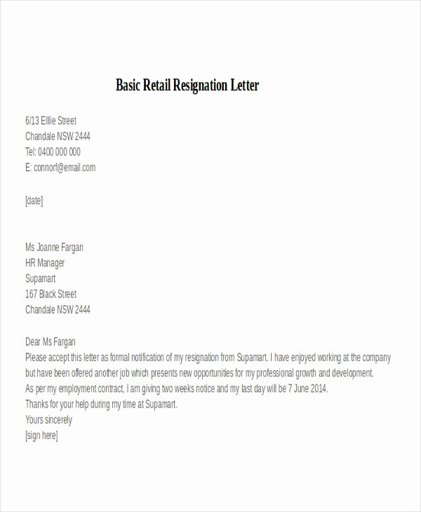 Two Weeks Notice for Retail Best Of 30 Resignation Letter Examples