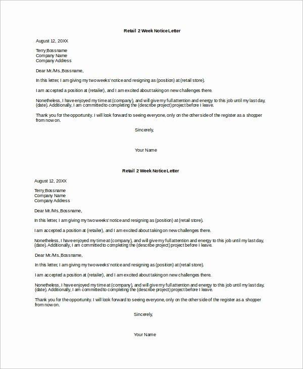 Two Weeks Notice for Retail Elegant Sample 2 Week Notice Letter 8 Examples In Word Pdf