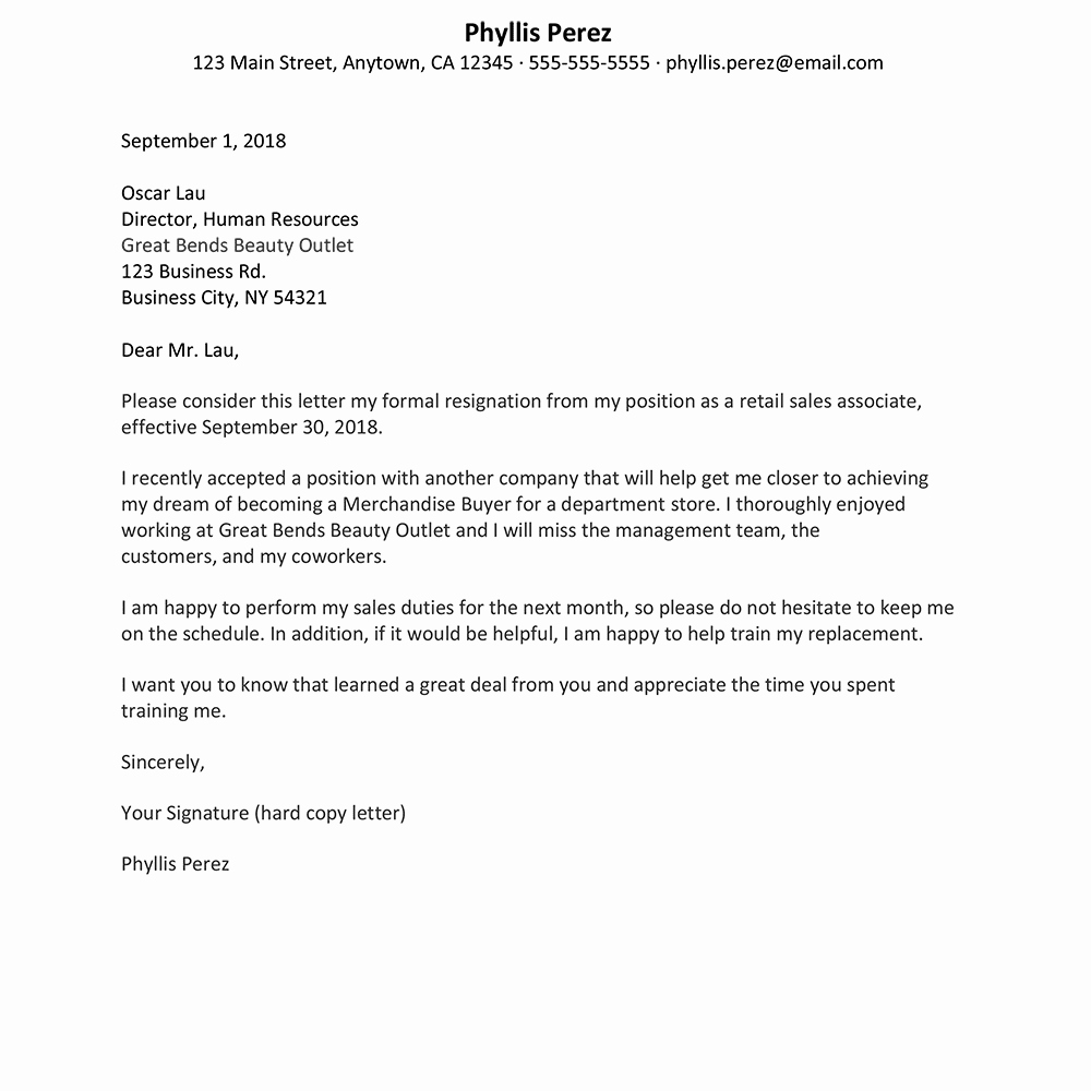 Two Weeks Notice for Retail Fresh Retail Job Resignation Letter Sample