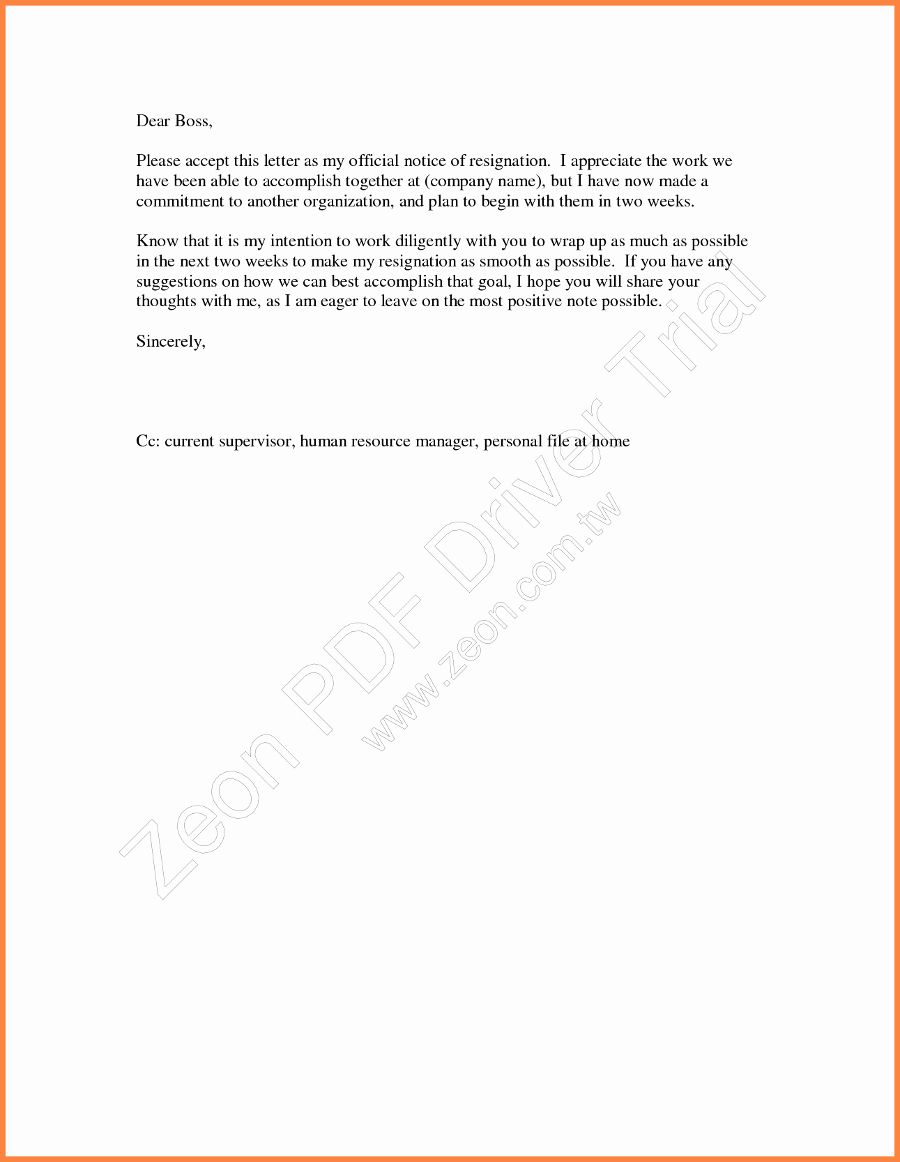 Two Weeks Notice for Retail New 5 Example Letters Of Resignation 2 Week Notices