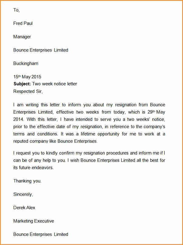 Two Weeks Notice Template Retail Fresh 10 How to Write A Notice Letter Example