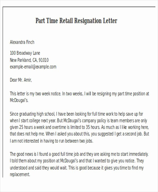 Two Weeks Notice Template Retail Unique 11 Retail Resignation Letter Template Free Word Pdf