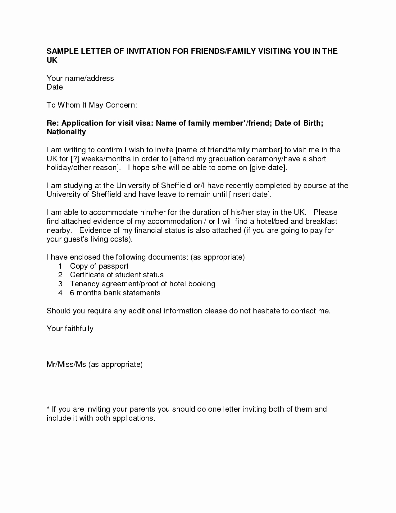 U Visa Personal Statement Sample Elegant Letter Invitation for Uk Visa Templatevisa Invitation