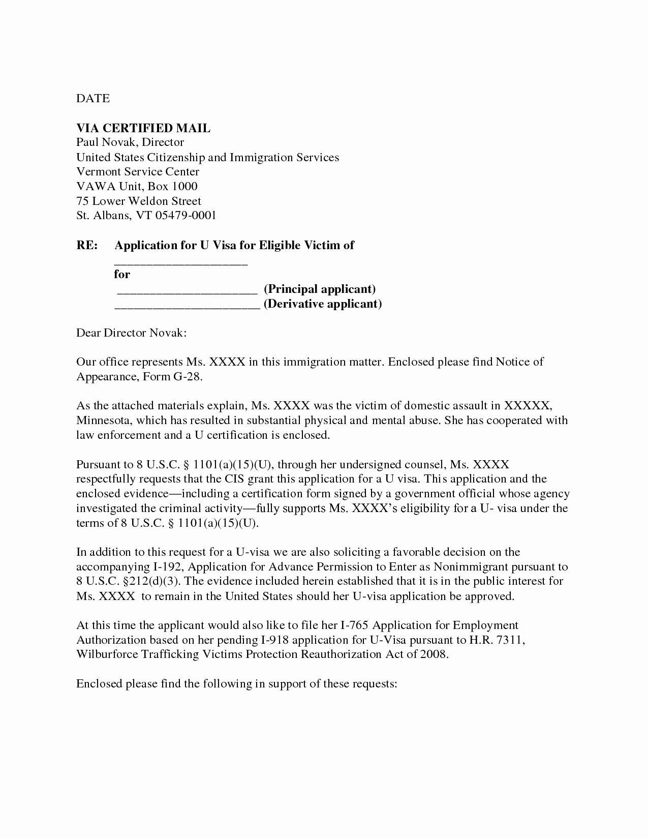 U Visa Personal Statement Sample Unique Letter Example Waiver Letter for Immigration Sample