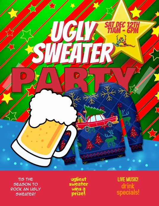 Ugly Sweater Certificate Template Awesome Ugly Sweater Party event Flyer Template