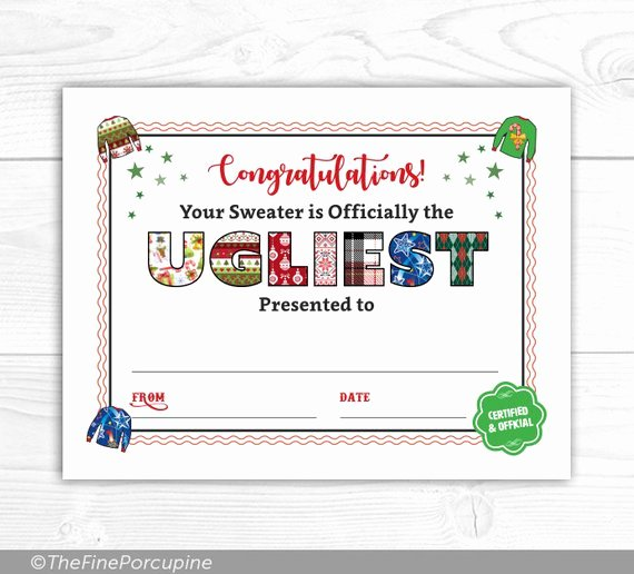 Ugly Sweater Certificate Template Beautiful Ugly Christmas Sweater Award Ugly Sweater Party Ugliest