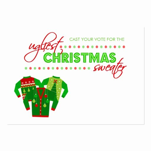 Ugly Sweater Certificate Template Beautiful Ugly Christmas Sweater Voting Ballot Card Business