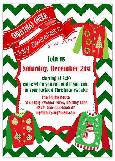 Ugly Sweater Certificate Template Fresh Ugly Sweater Chevron Holiday Party Invitation