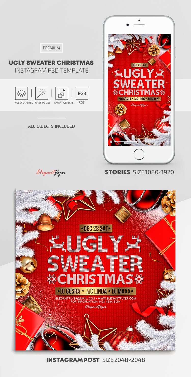 Ugly Sweater Certificate Template Fresh Ugly Sweater Christmas – Instagram Stories Template In Psd