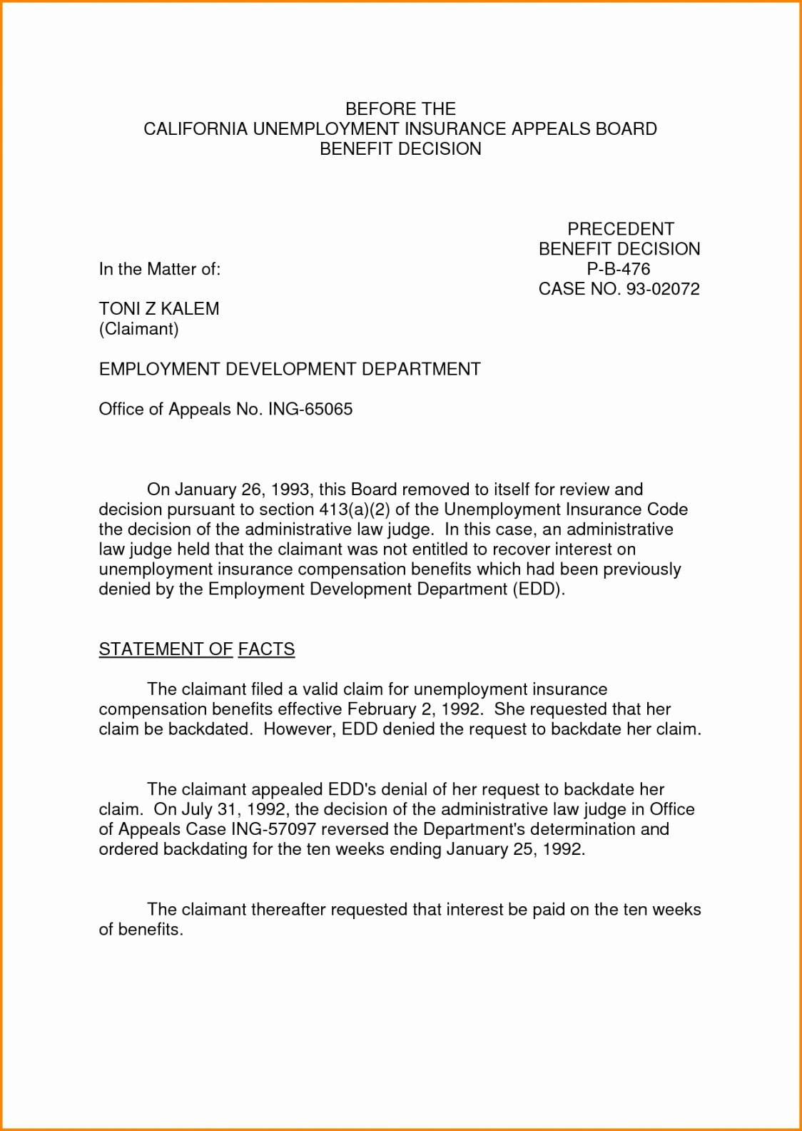 Unemployed Letter Sample Awesome Unemployment Appeal Letter Template