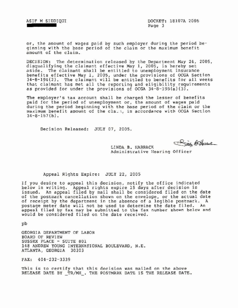 Unemployed Letter Sample Fresh Realscand Unemployment Appeal Decision
