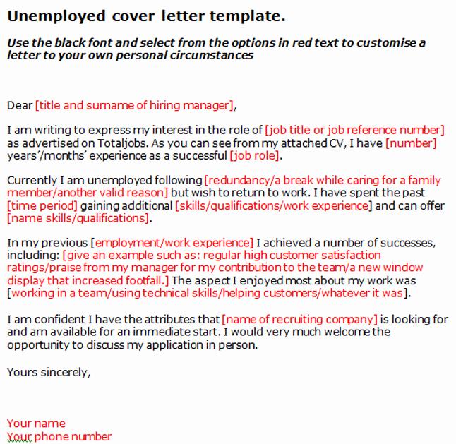 Unemployed Letter Sample Lovely Application Letter Sample Cover Letter Template Unemployed