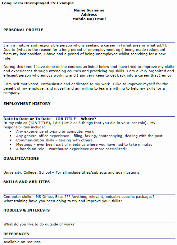Unemployment Letter Example Lovely Long Term Unemployed Cv Example Icover